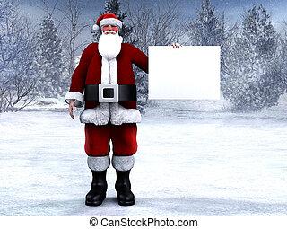 Santa Claus tiene una señal en blanco.