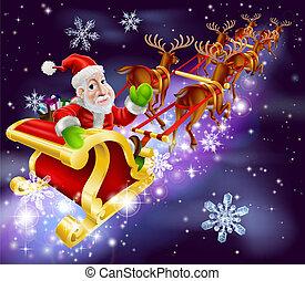 Santa Claus volando trineo con regalos