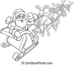 Santa Claus y reno trineo de navidad