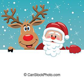 Santa Claus y Rodolfo ciervos