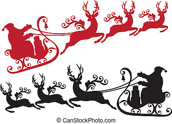 Santa con trineo y renos