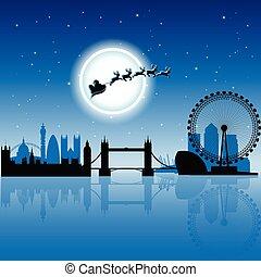Santa en Londres sobre la ilustración del vector azul del cielo nocturno