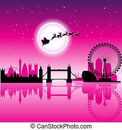Santa en Londres sobre la ilustración del vector del cielo nocturno magenta