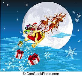 Santa en su trineo