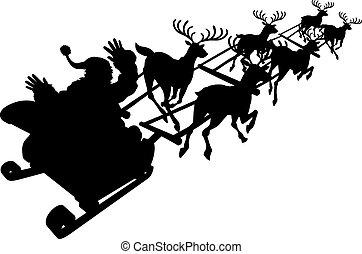 Santa en su trineo navideño o silueta de trineo