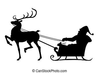 santa, equitación, reno, silueta, sleigh