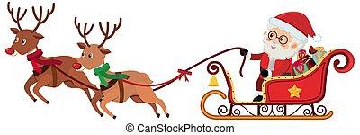 santa, equitación, sleigh, claus, rojo
