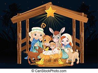Santa familia en la noche de Navidad