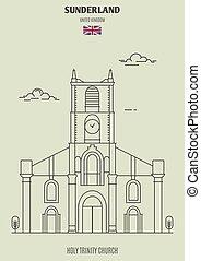 Santa iglesia trinidad en Sunderland, Reino Unido. icono de marca