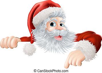 Santa Navidad señalando a Si