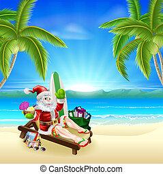 Santa relajándose en la playa caliente y soleada
