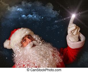 Santa señalando con luz mágica al cielo