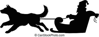 Santa Silueta montando en trineo de perros