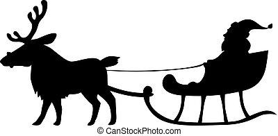 Santa Silueta montando en trineo de renos