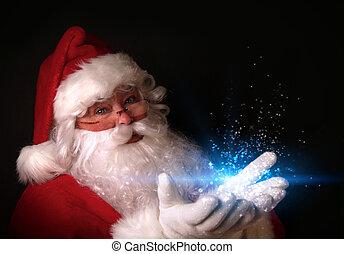 Santa sosteniendo luces mágicas en las manos
