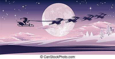 Santa volando en su trineo