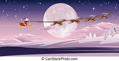 Santa volando frente a la luna de invierno