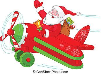 Santa volando su avión navideño