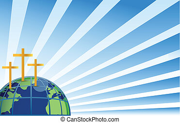 Santas cruces en la cima de la tierra