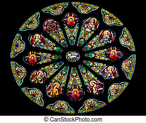 santo, católico, rosa, vidrio, peter, iglesia, san, f, ventana, paul, manchado