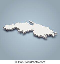 santo, islas, thomas, isla, virgen, isométrico, mapa, 3d, estados unidos