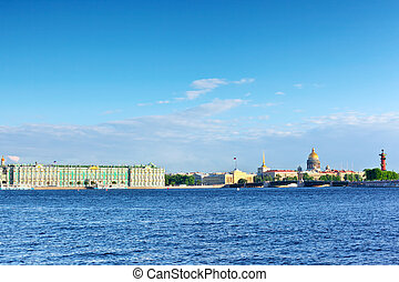 santo, vista, palacio, petersburg, neva, river., invierno