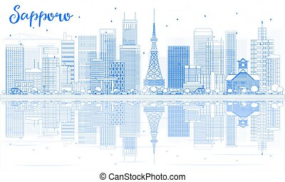 sapporo, reflections., edificios, contorno, contorno, azul