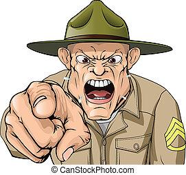 Sargento furioso del ejército de Cartones gritando