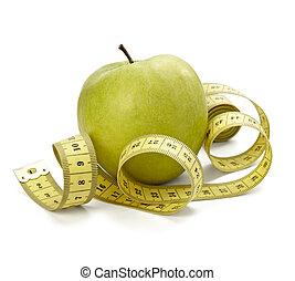 sastre, manzana, peso, alimento, condición física, dieta, longitud, fruta, cintamétrica