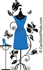 sastres, ang, zapatos del vestido, maniquí