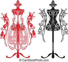sastres, maniquí, vestido