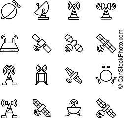 satélite de comunicación orbital espacial, iconos de navegación global