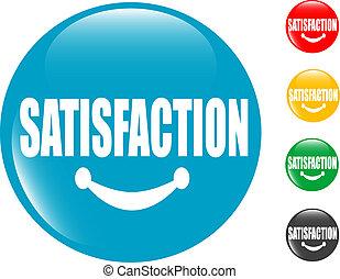 satisfacción, botón, cuadrado, señal