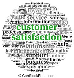satisfacción del cliente, blanco, concepto