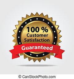 satisfacción del cliente, insignia, rojo, oro