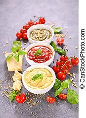 sauce-, mayonesa, variado, salsade tomate, mostaza, pesto