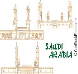 saudí, delgado, arabia, línea, mezquitas, antiguo, icono