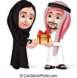 saudí, hombre, árabe, llevando, thobe