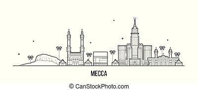 saudí, vector, makkah, grande, arabia, contorno, mecca, ciudad
