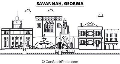 Savannah, la línea de arquitectura de Georgia ilustración en el horizonte. Vector lineal Cityscape con puntos de referencia famosos, vistas de la ciudad, iconos de diseño. Landscape wtih derrames editables