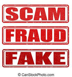 scam, sellos, fraude, falsificación