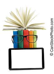 school., colorido, espacio, concept., espalda, libro de la biblioteca, libros, reader., copia, electrónico, pila