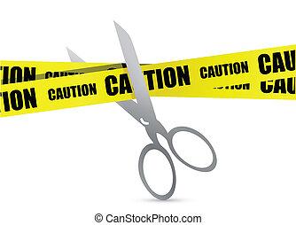 scissor, construcción, cinta, debajo