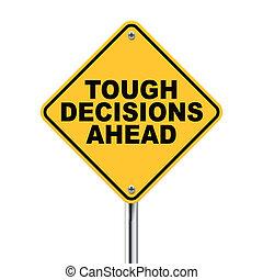 señal, adelante, decisiones, tráfico, duro