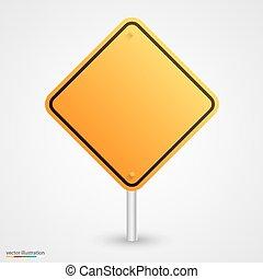 Señal amarilla vacía de carretera