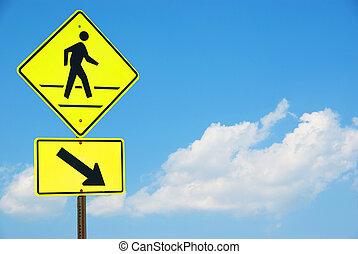 señal, ambulante, cielo azul, persona, peatón, amarillo