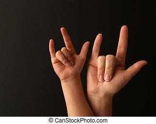 señal, amor, madre, niño