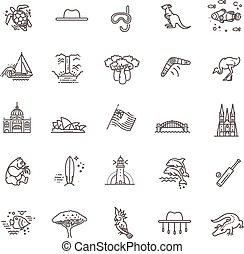 señal, animales, emblema, australiano, vector, traditions., elemento, gráfico, cultura, set., símbolo