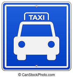 Señal azul de taxi