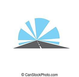 señal, camino, aislado, carretera, vector, icono, camino